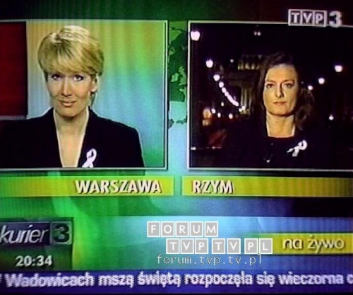 <font color=darkblue size=3><u>2006.04.02 - Kurier TVP3; 20:30 - Watykan.</u></font><br>Urszula Rzepczak - dawniej dziennikarka i prezenterka Informacji w Polsacie, autorka programu podróżniczego Obieżyświat w Polsat 2 Int...